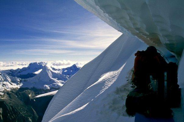 Rock Climbing Photo: Unreal bivy on Huandoy Norte below the overhanging...
