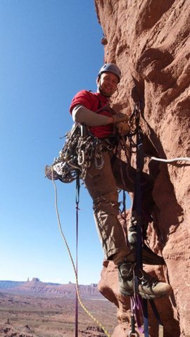 Rock Climbing Photo: Joe leading off the fourth pitch belay on Rasta Wa...