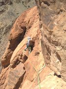 Rock Climbing Photo: Andy following the traverse to the Great White Rid...