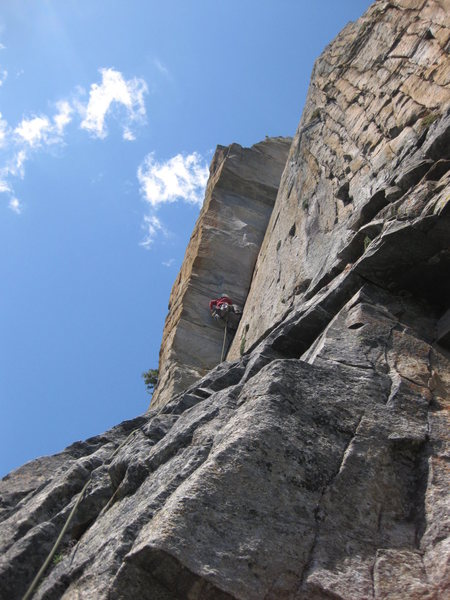 Heading up the Red Tower Pitch, not the hardest pitch on the route but probably the funnest