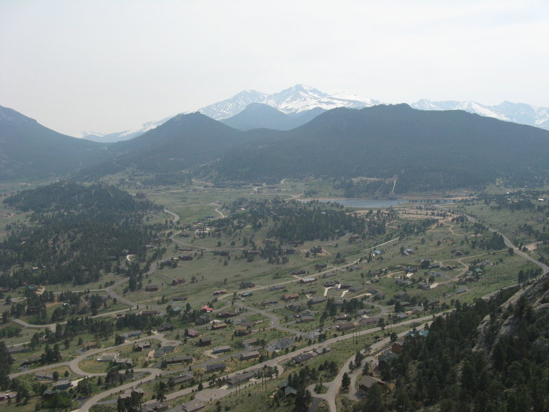 Rock Climbing Photo: View of Long's Peak and Estes Park from the top of...