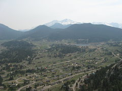 View of Long's Peak and Estes Park from the top of The Thumb.  The haze is from the huge fire in NE Arizona.