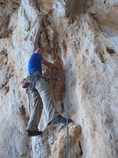 Rock Climbing Photo: Ken at the start of Furno.