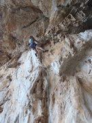 Rock Climbing Photo: Anja high on Furno.