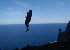 Rock Climbing Photo: Lowering off Furno.