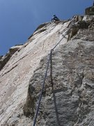 Rock Climbing Photo: James on the last pitch of 3HA.