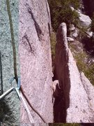 Rock Climbing Photo: The flake behind which the climb begins.
