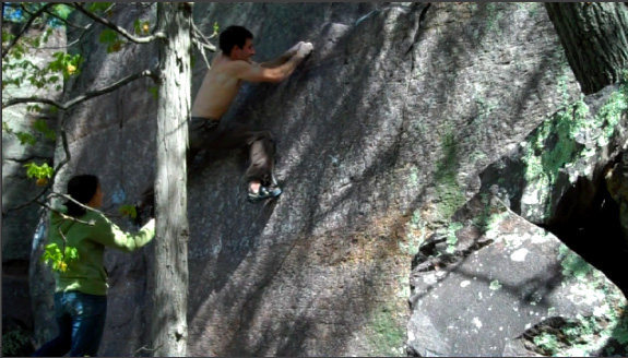 Rock Climbing Photo: Setting up for the scary dyno at the end
