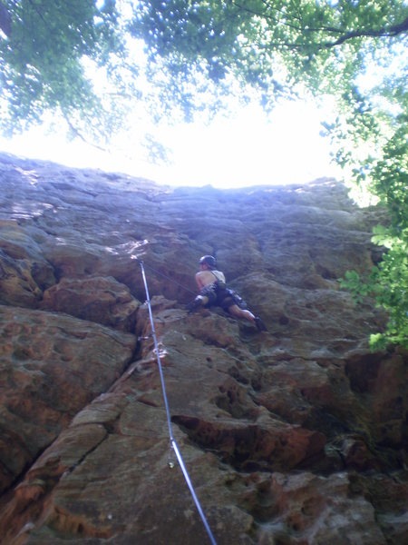 Rock Climbing Photo: About to get into the plated bulge.  Climbing this...