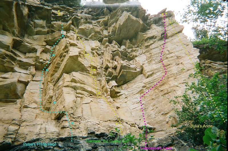 Rock Climbing Photo: Nice...L to R, Petra's Preference, Carmen the Gyps...