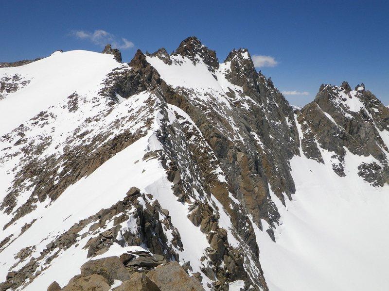 The Polemonium Glacier, Polemonium Peak, North Palisade, Starlight Peak, Thunderbolt Peak and the Palidsade Glacier from Mt. Sill.