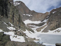 Rock Climbing Photo: The cirque is still socked full with snow, but you...