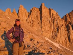 In the alpenglow, heading up Mt. Whitney