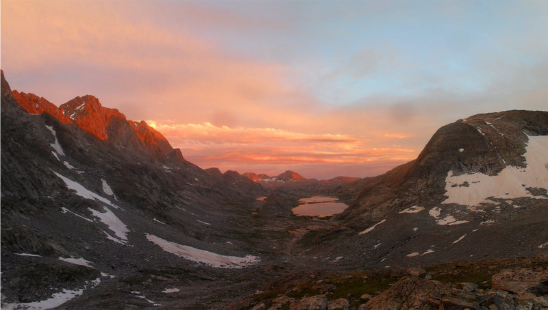 Rock Climbing Photo: Looking down upper Titcomb Basin.