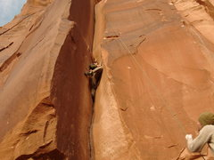 Rock Climbing Photo: Indian Creek UT. Strange flared crack to the left ...