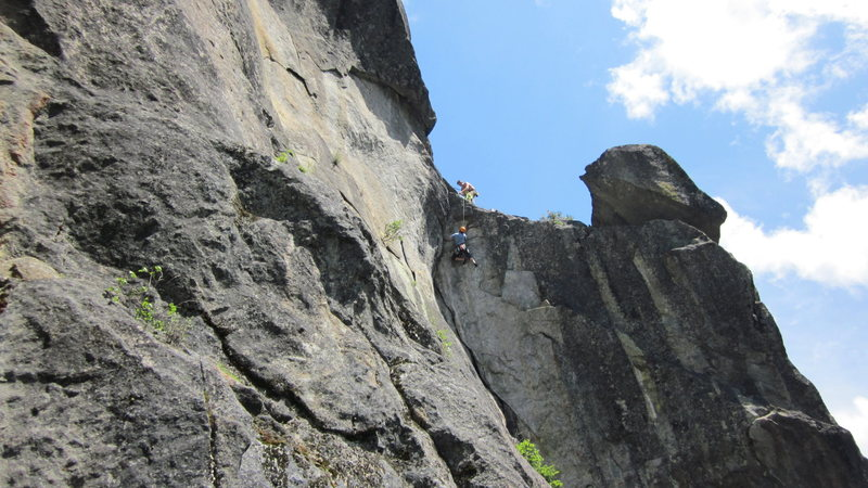 Rock Climbing Photo: Unknown climber working out the Crux sequence of T...