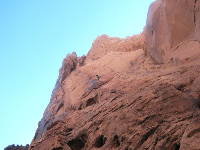 Andy approching the belay