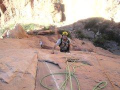 Rock Climbing Photo: Shingo near top of P2