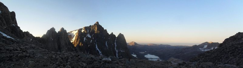 Mt Helen and Titcomb Basin from Bonney Pass.