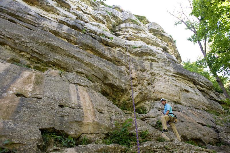 Rock Climbing Photo: Michael McKay stands below Open Book (5.10) at Cap...