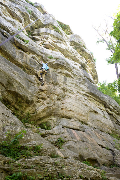 Michael McKay climbs through the delightful, steep opening moves of the Open Book, at Capen Park
