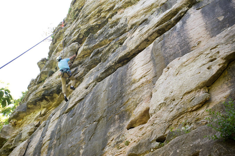 Michael McKay enjoys steep climbing on Midwest limestone (Capen Park, Missouri)