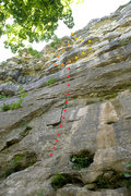 Rock Climbing Photo: Route topo for Mister Easy, at Capen Park.  The le...
