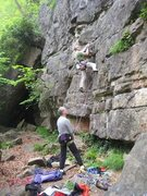 Rock Climbing Photo: The steep start of Laughing Cavaliers. (photo by P...