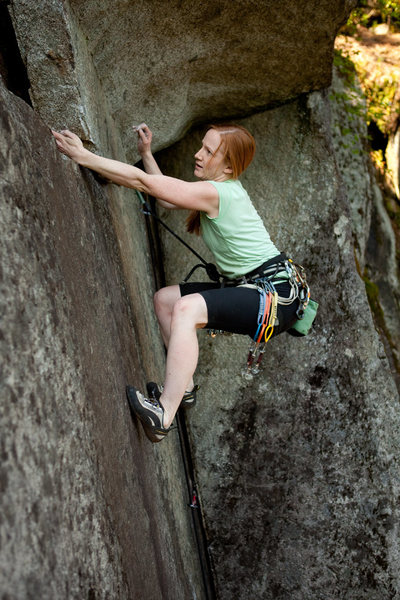 Here is a photo I shot of Lisel Petersen climbing the route out to the left.  10+  www.codytuttle.com
