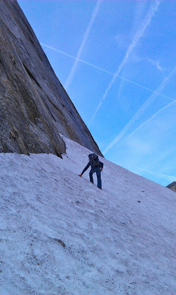 Rock Climbing Photo: The approach in mid-april = snow pile