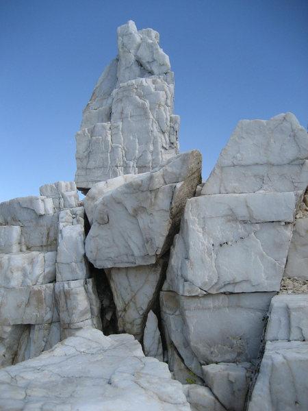 Rock Climbing Photo: solid crystal formations high on the ridge.