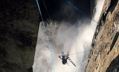 Rock Climbing Photo: Scott on the Tyrolean - Yosemite Falls were going ...
