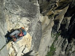 Rock Climbing Photo: jugging to salathe ledge