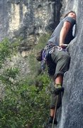 Rock Climbing Photo: powerful mantle is harder for those who are tall