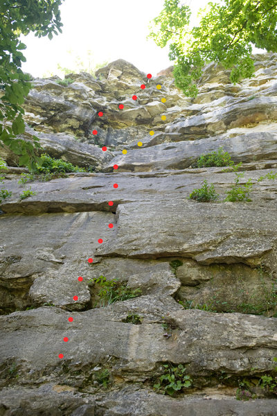 Route topo for the Russian Vault, at Capen Park.  The yellow dots indicate an easier variation at the top.