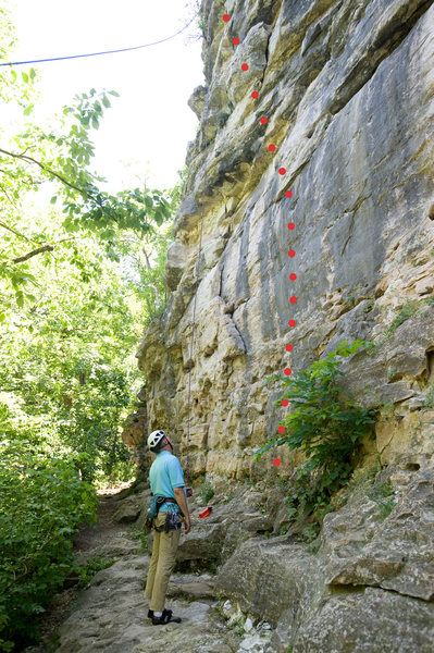 Rock Climbing Photo: Route topo for Three Horns Direct at Capen Park.
