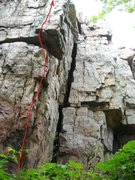 Rock Climbing Photo: The line of On a roll, Just left of 5/8