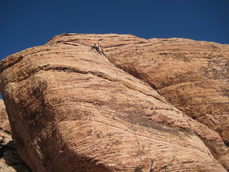 Rock Climbing Photo: Last few moves to the anchor of Caliban.