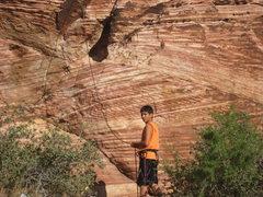 Rock Climbing Photo: My son belaying me.