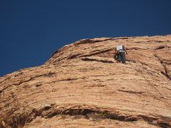 Rock Climbing Photo: Setting up top rope for my son.