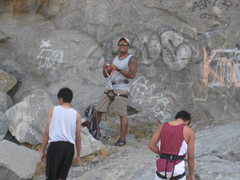 Rock Climbing Photo: Prepping for Mantle Marathon 5.10a at Slab City.