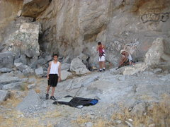 Rock Climbing Photo: Top rope is set. My son and my sister's boyfriend ...