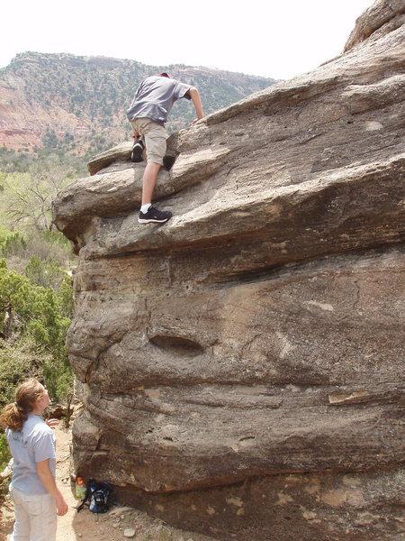 Rock Climbing Photo: The easy scramble to gain the top/get down.