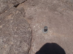 Rock Climbing Photo: The big bolt on top. To use it, slide the washer t...