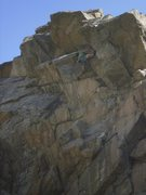 Rock Climbing Photo: Starting into the stemming crux.