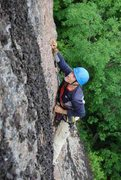 Rock Climbing Photo: Eyeing the upper crux move before taking a stab. P...