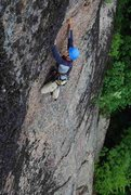 Rock Climbing Photo: Finishing the steep upper face of Long Play. Photo...
