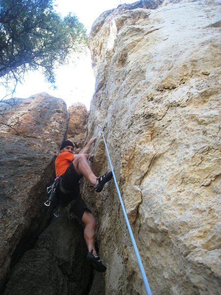 Rock Climbing Photo: The opening boulder problem ends at a good jug abo...