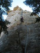 Rock Climbing Photo: Kate savoring the sinker jugs atop Big Medicine.