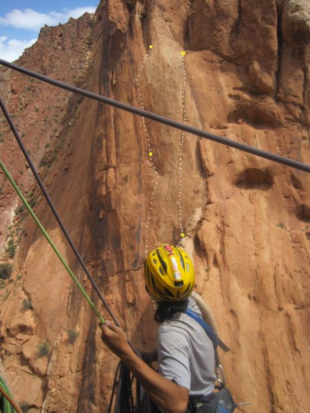"""The previos days climbs """"The Anglo/Japanese Route"""" and a """"Touch of Sushi"""" viewed from the FA of """"The Escape"""" route"""